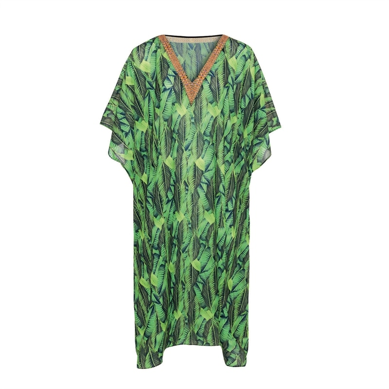 Costa Smeralda Kaftan Leavy Greens