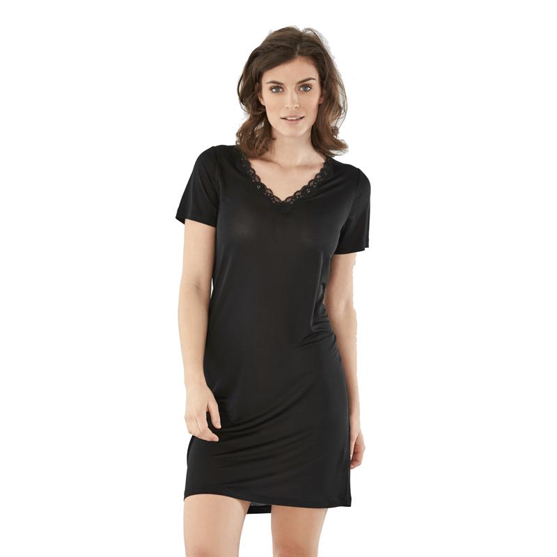 Knitted Silk Lace Nattlinne Black - Damella  725c43ab93b0e