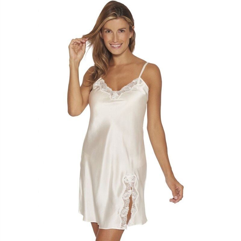 Slipdress Pure Silk off White Nattlinne - Lady Avenue  4fea9dc042cd3