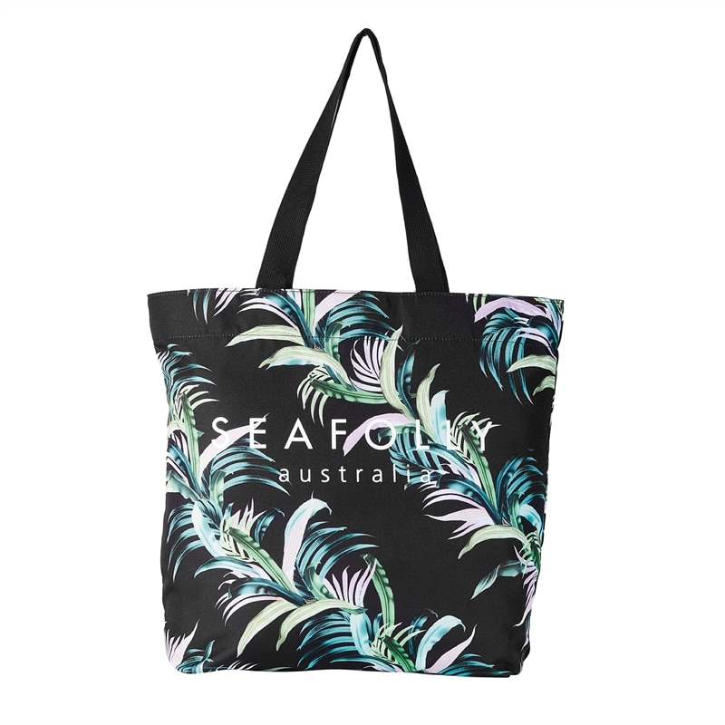 seafolly las palmas tote black beach bag tropical pattern green pastelles 71427-BGBlack_1